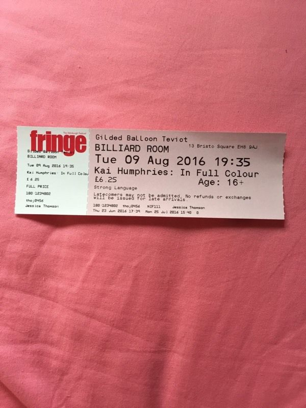Edinburgh Fringe Kai Humphries Ticket