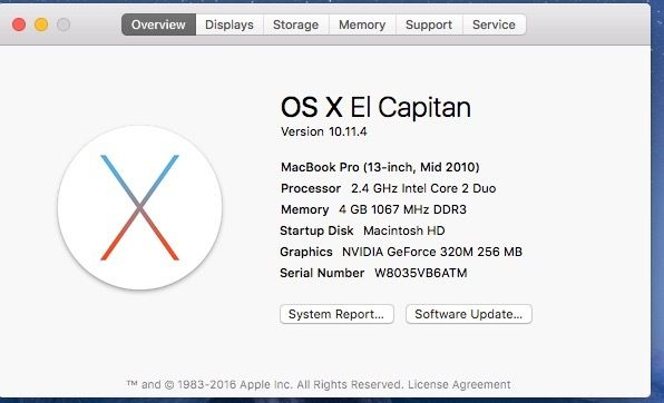 MacBook Pro (13-inch, Mid 2010) - Serviced Battery Needed