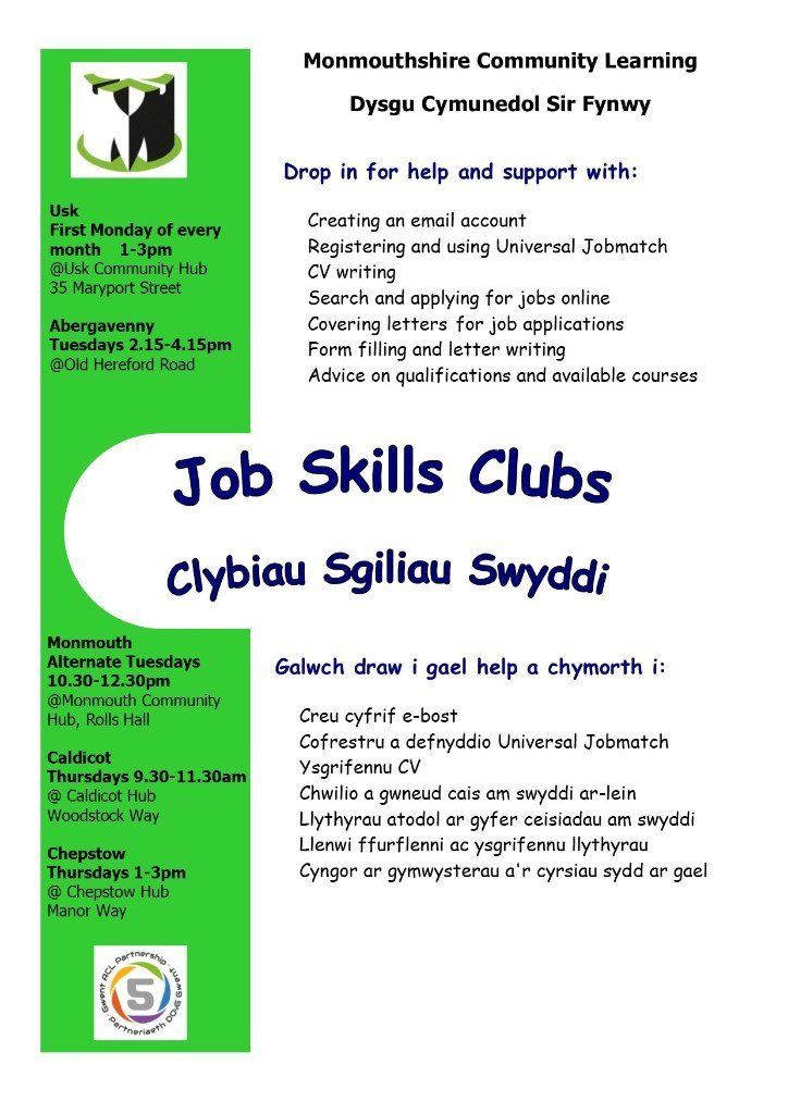 Job Skills Club starting at Monmouth Community Hub every Tuesday, 10.30am -12.30pm September 2016