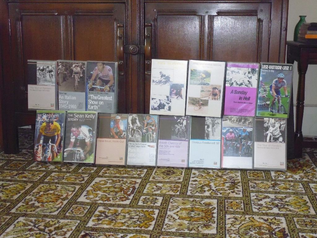 Cycling Video Collection for Sale Approximately 1600 tapes with VCR