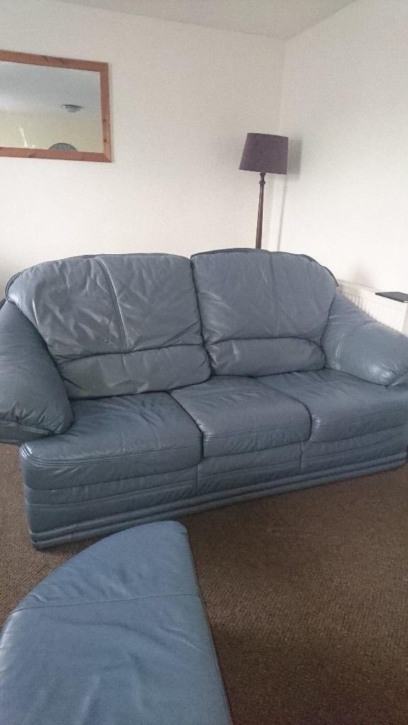 FREE BLUE LEATHER SOFA, CHAIR AND FOOTSTOOL - UPLIFT ONLY