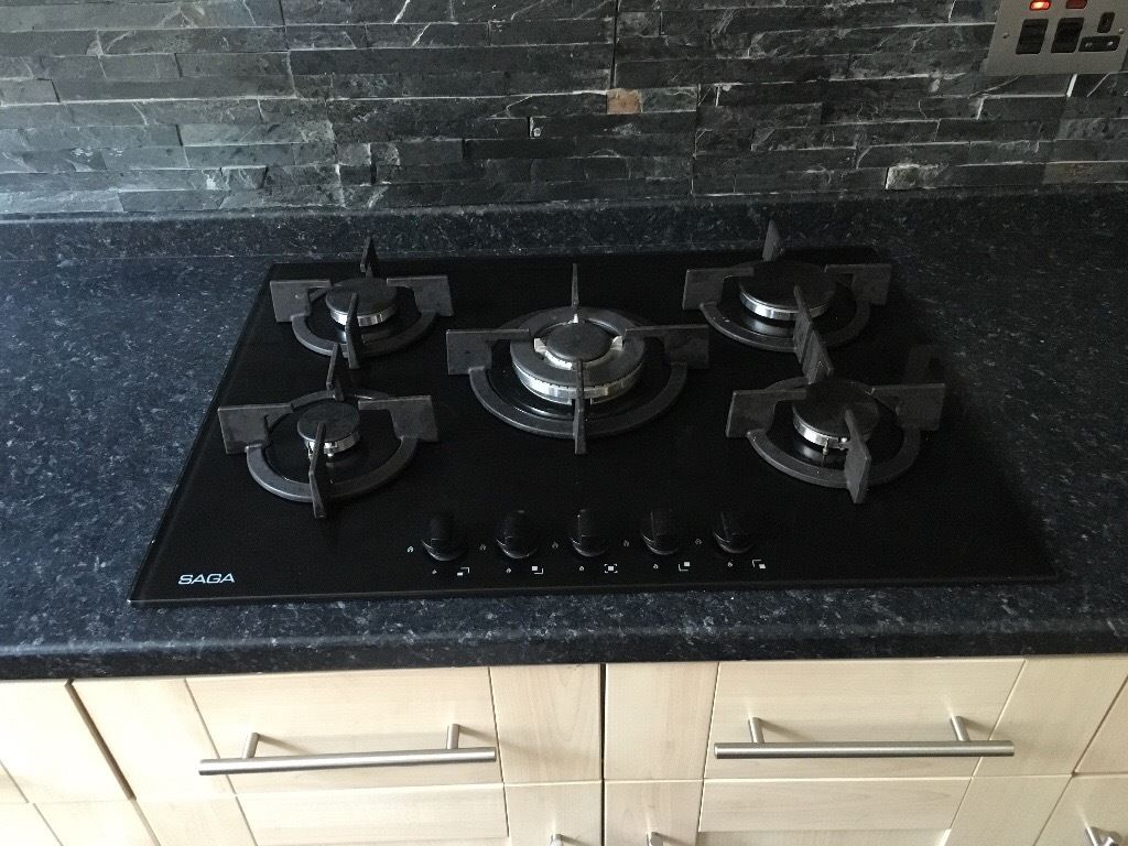 Black glass five burner gas hob