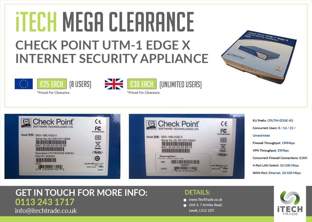 Check Point UTM-1 EDGE X Firewall/VPN - Crazy Clearance!