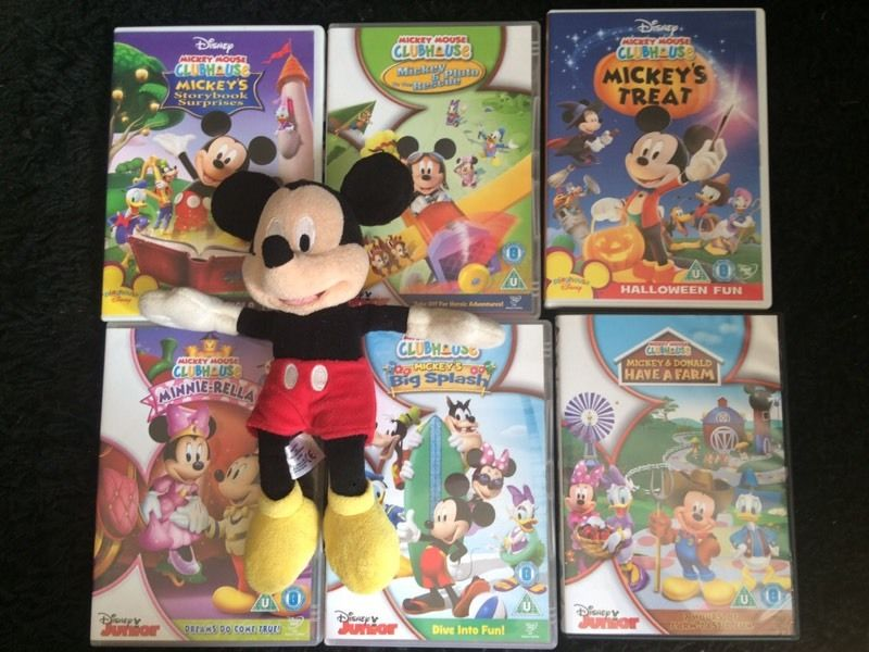 6x Mickey Mouse DVDs & Disney store soft toy / teddy