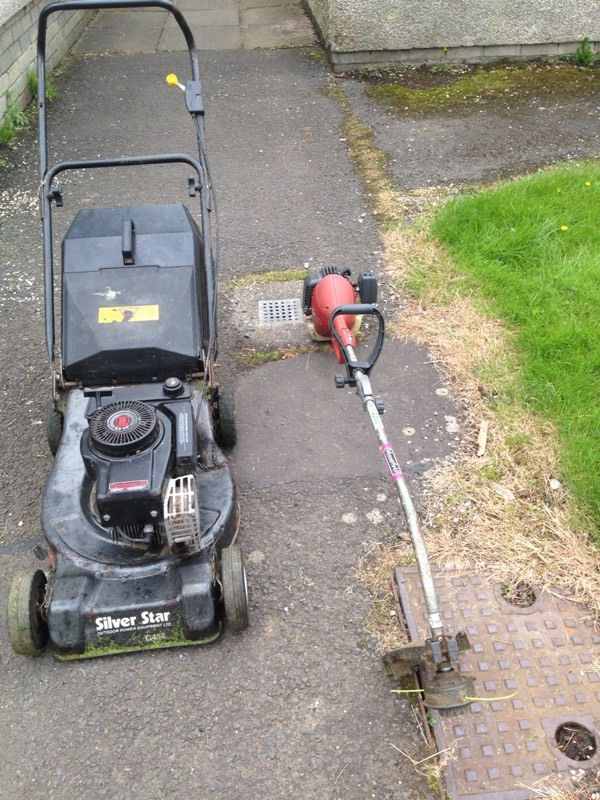 Lawnmower and strimmer both run