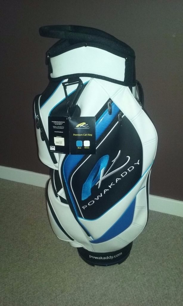 Powakaddy golf cart golf bag. 'Premium Range'. Blue, Black and White. Brand new with tags attached