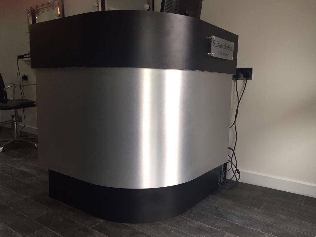 Hairdressers black and silver desk