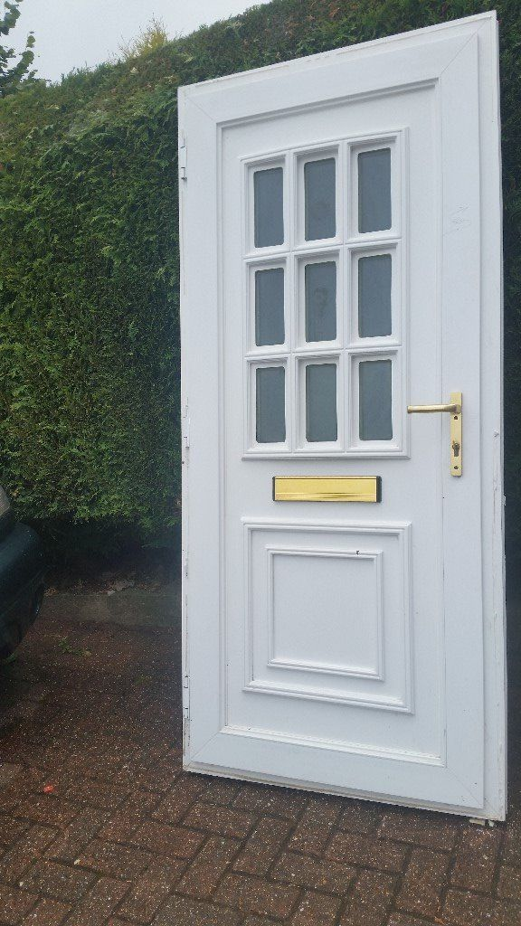 ** uPVC Double Glazed Front Door White Ref D3