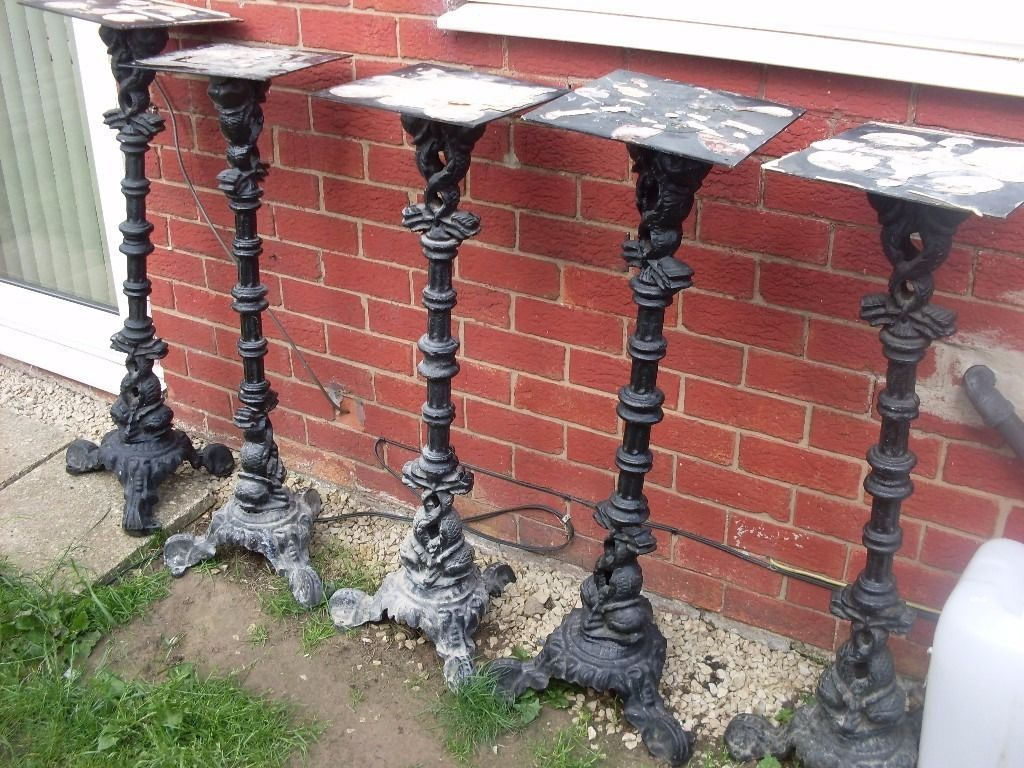 5 table stands solid cast iron 4ft high beautiful pattern very heavy