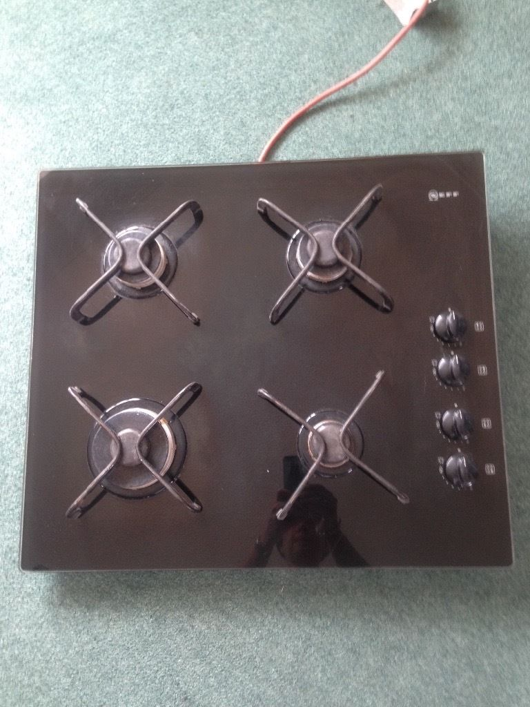 Gas hob with glass top
