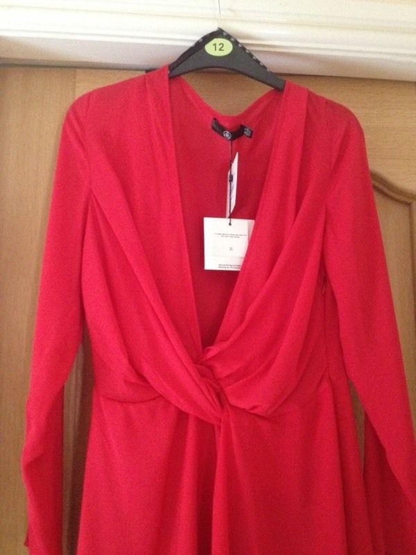 Silk Red MISSGUIDED Dress Size 12.