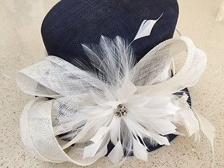 John Lewis Navy and Cream wedding/races beautiful hat