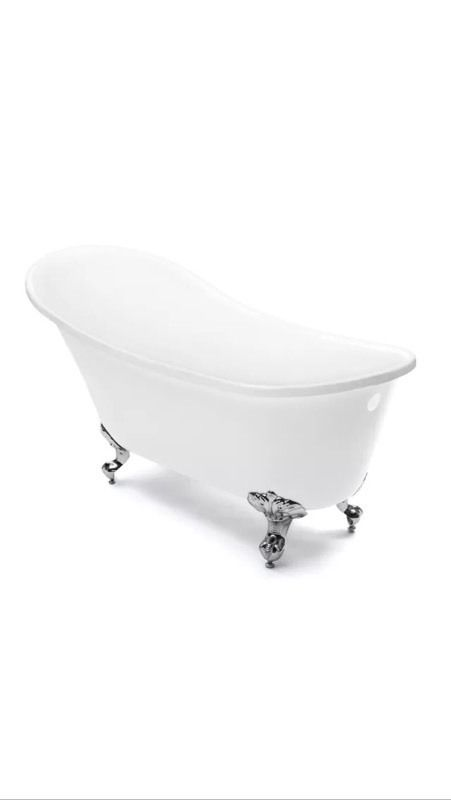 Free standing chrome bath taps and free standing Victoria roll top slipper bath