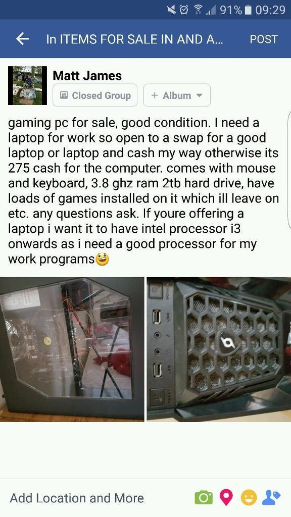 210 if sold today! gaming pc!!