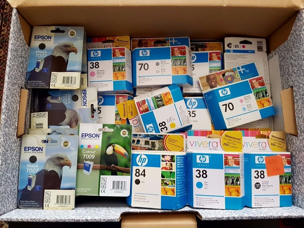 Massive box of mixed genuine HP and Epson ink & printhead - HP35, HP38, HP70, HP84, Epson T007, T009