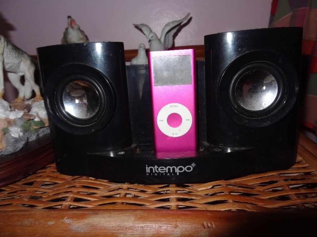 4GB pink iPod (Broken) with working speaker charger set