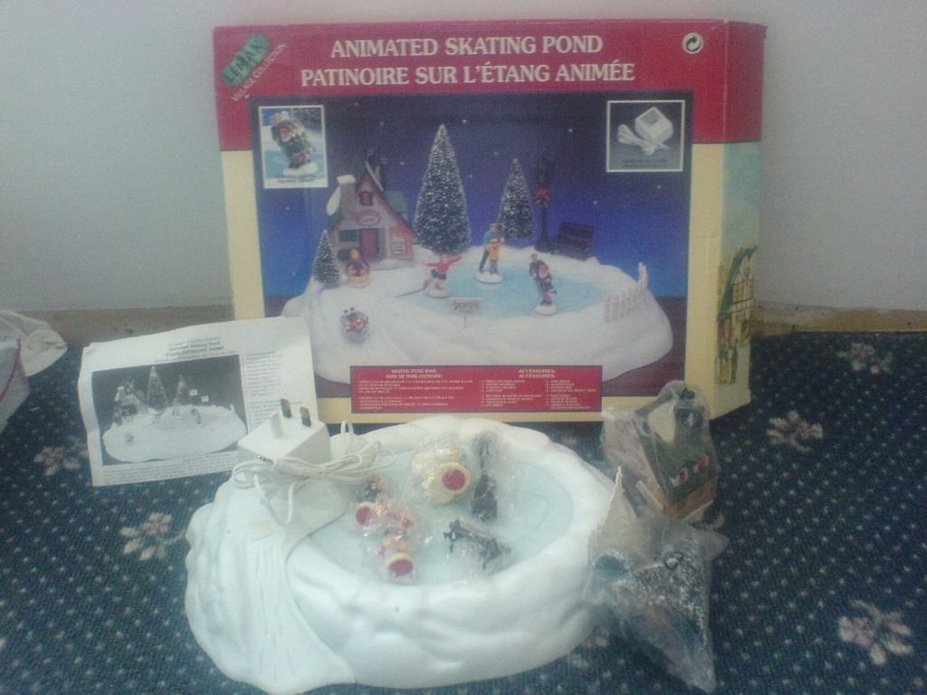 Lemax Village collection skating pond collectors item retired look new