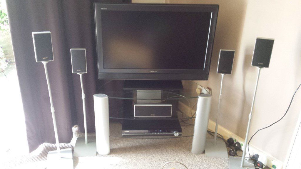 "Sony 32"" TV , Sony DVD home theatre system and stand"