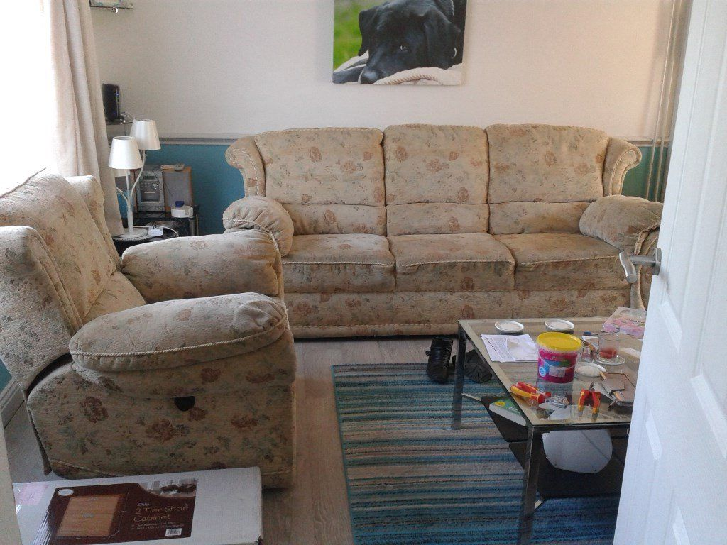 3 seater sofa and matching reclining chair