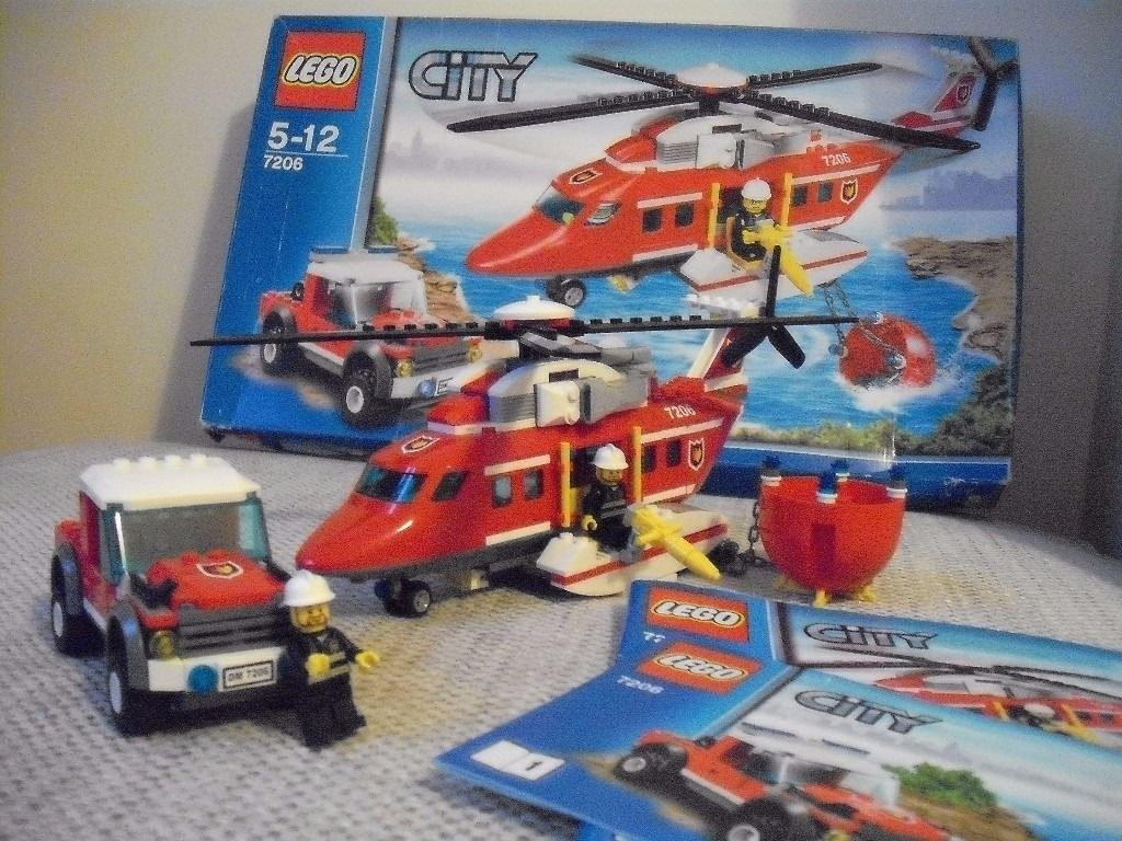Lego City Fire Helicopter and Car Set