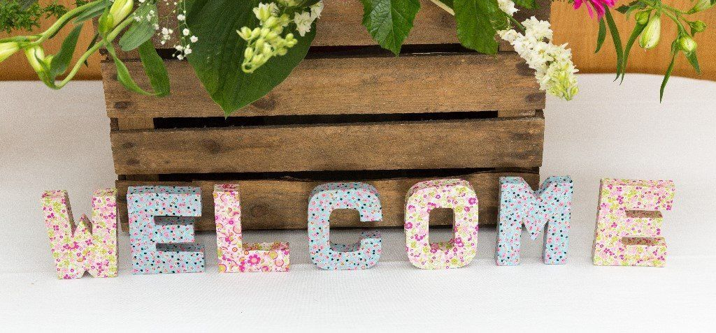 'Welcome' decopatch letters