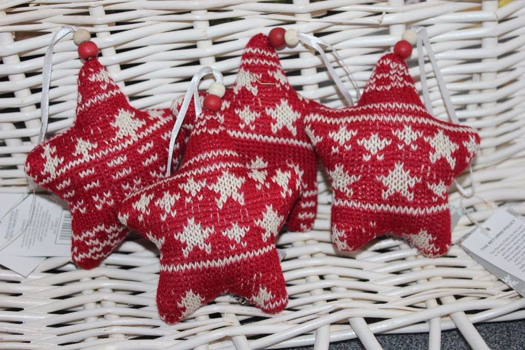 Scandi style Hearts & stars knitted decorations new with tags