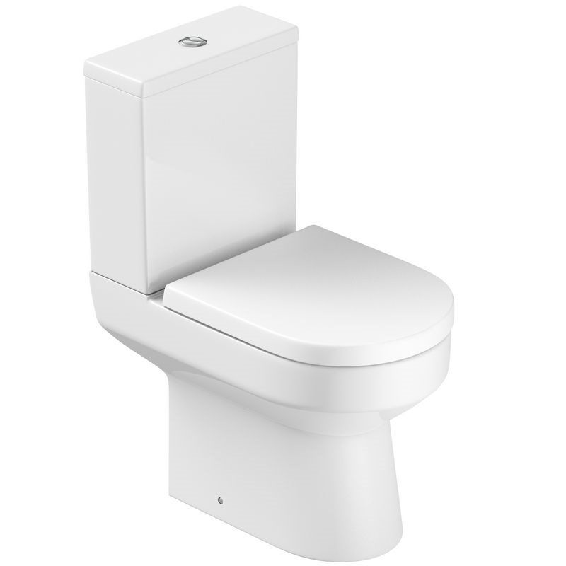 Modern Minimalist Compact D-shape Toilet WC Pack Includes Soft Close Seat