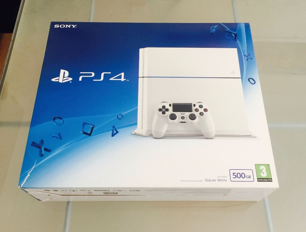 Playstation 4 (Glacier White) 500GB & *4 Games*