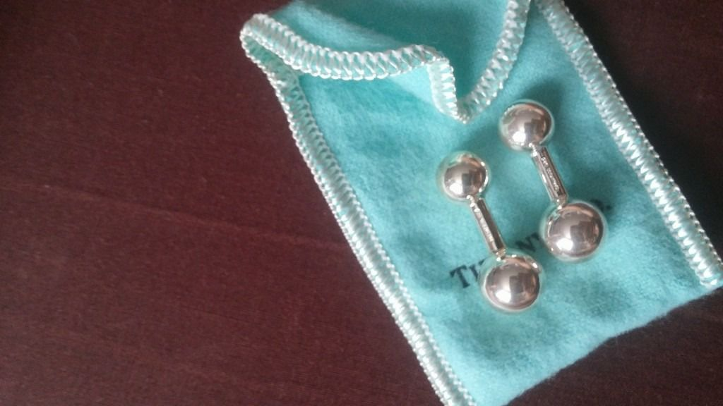 real tiffany&co barbell cuff links