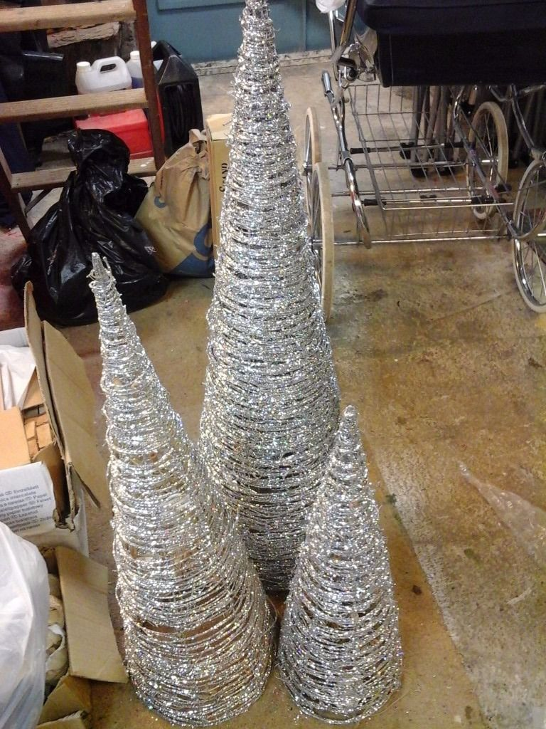 Silver glitter fairy light cones