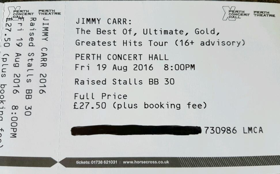 2x Jimmy Carr tickets Perth