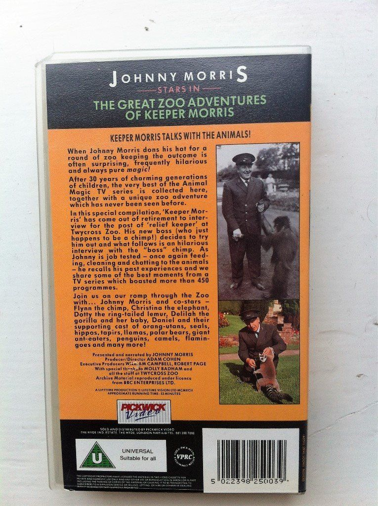 The Great Zoo Adventures of Keeper Morris VHS ***RARE***