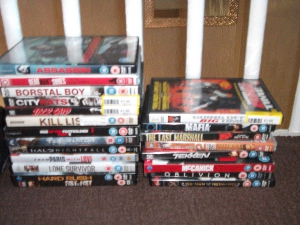 selection of childrens, teens and adult dvds/videos