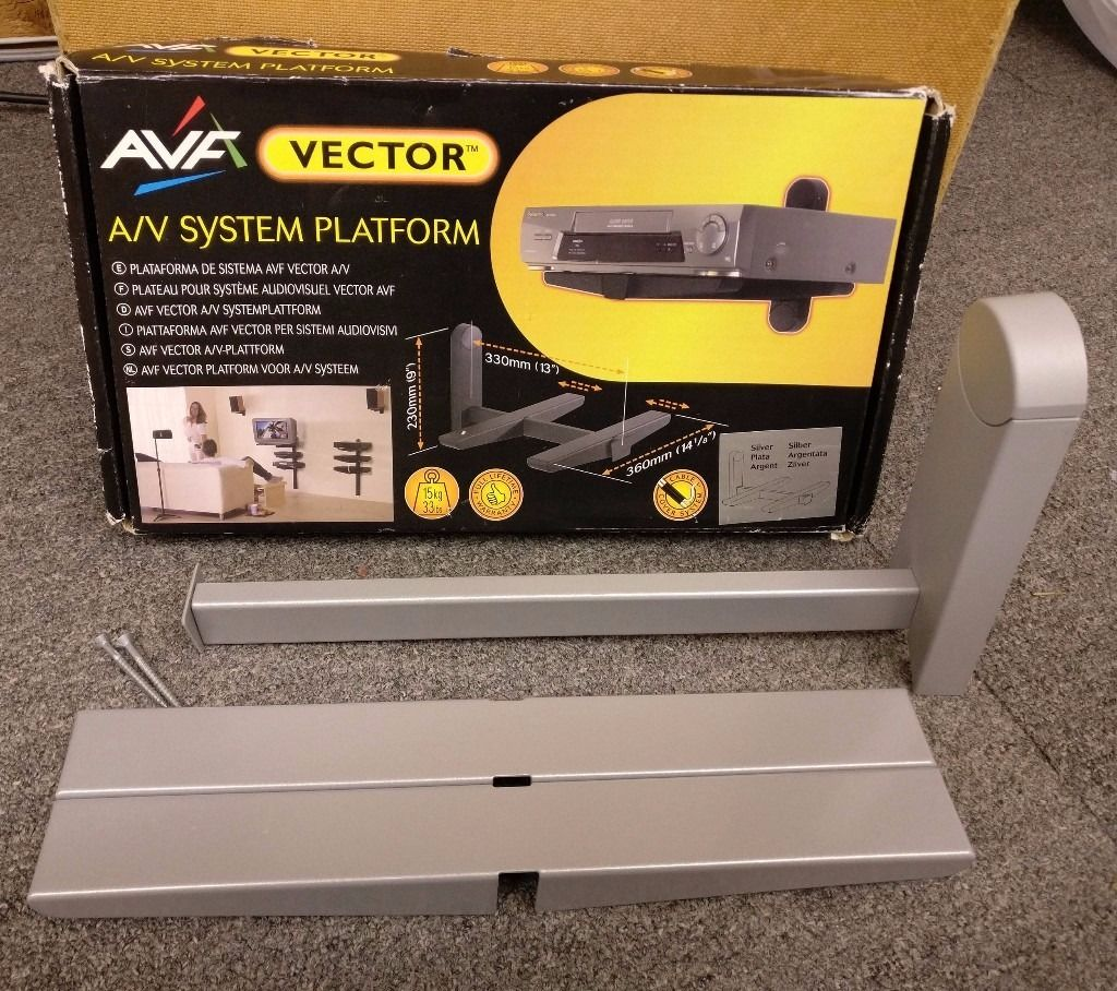 AVF Vector AV System Platform Silver Wall Mount for Amp, Blu-Ray Player, Speakers *Excellent Con*