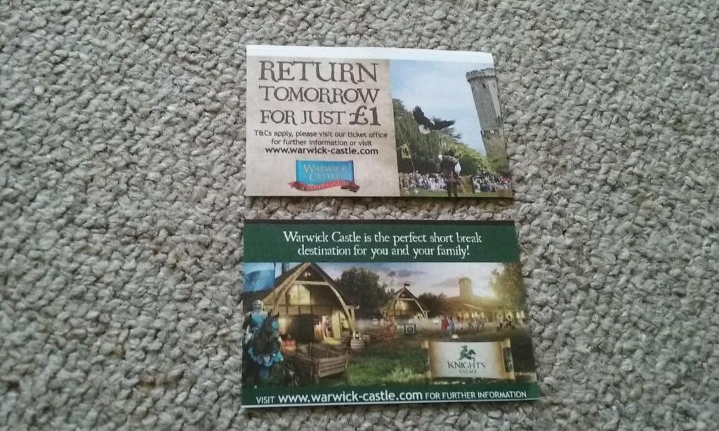 Warwick Castle tickets x 2 for 29th August 2016 bank holiday Monday