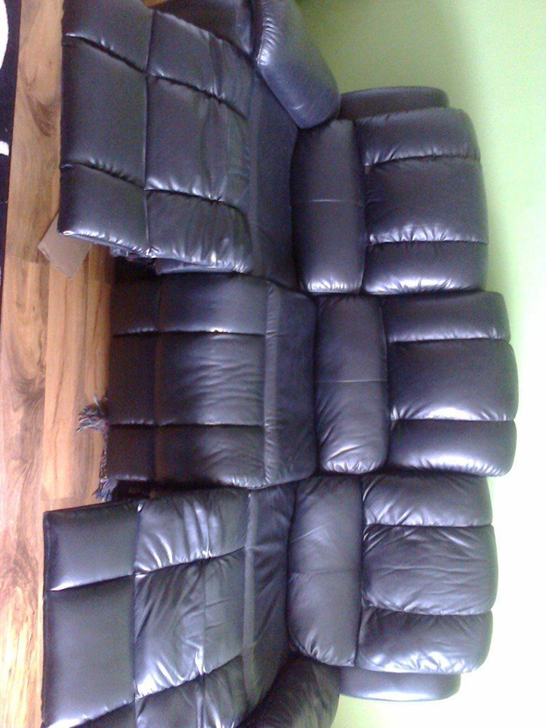 leather reclining settee and chair