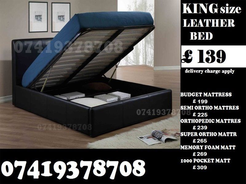 Kiing SIZE LEATHER STORAGE BED FRAME WITH Mattrss OPTIONS