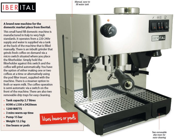 Iberital Domestic Espresso Machine with Inbuilt Grinder