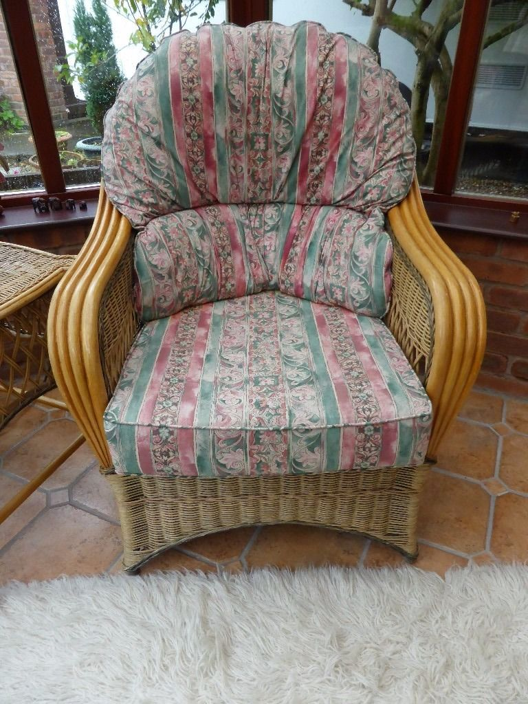Cane Conservatory 2 seater and single seater and stool.
