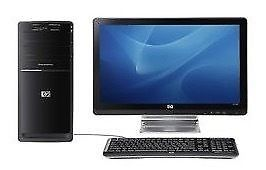 "HP PC with 20"" HP LCD monitor, keyboard and speakers"