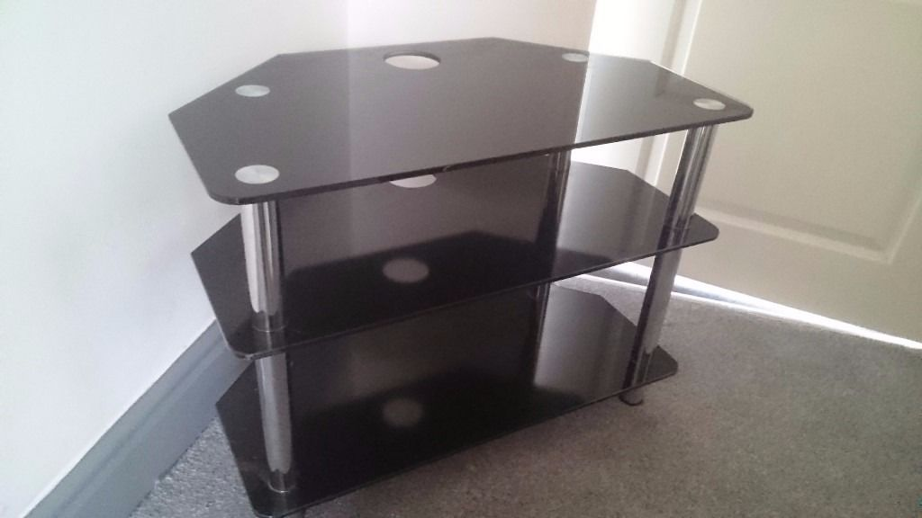 Black glass tv/audio stand