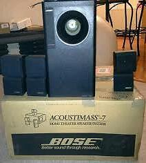 Bose acoustimass 7 Cinema system and also 2 extra 100 speakers with brackets still boxes