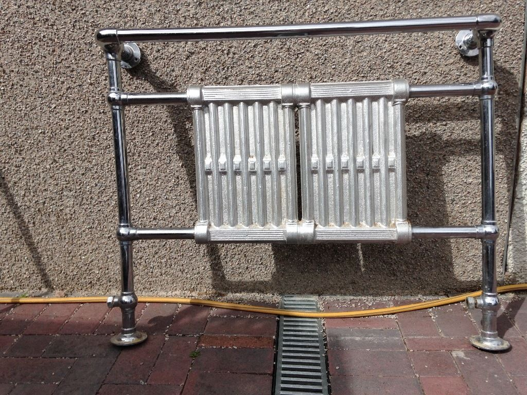 Traditional chrome cast iron and copper towel rail/radiator