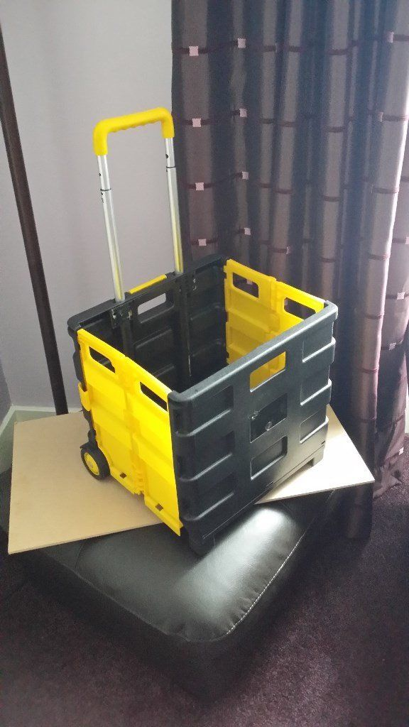 Folding Sack Barrow / Storage Box Wheels Crate Foldable