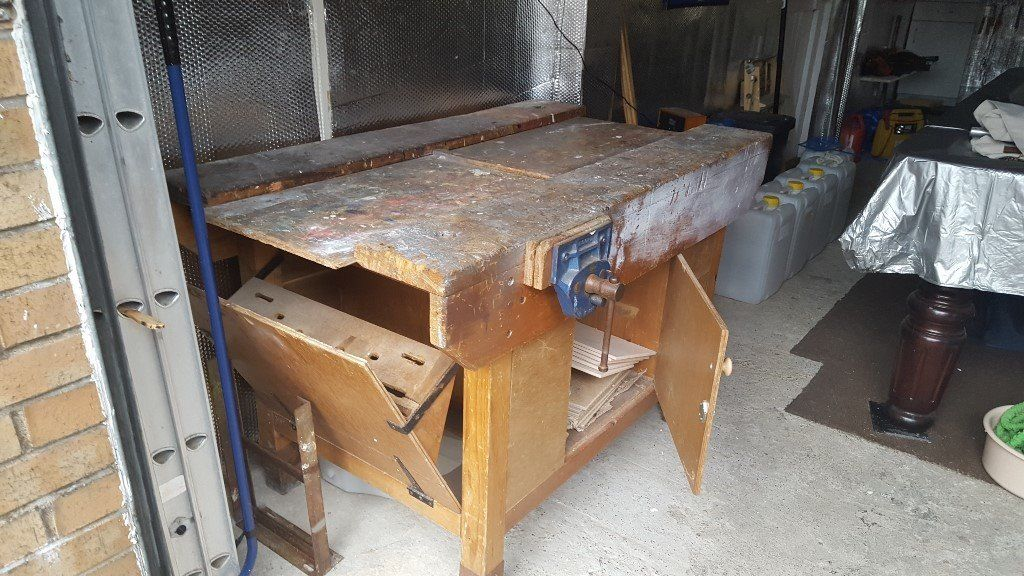 ANTIQUE PIN SCHOOL WORKBENCH