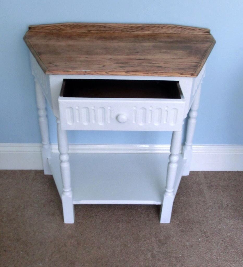 Very attractive unusual shaped Vintage/Retro Wash Stand Solid Wood &natural wood top 1Drawer&Shelf