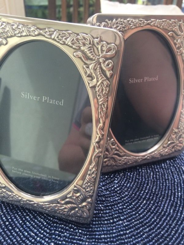 Two silver plated vintage photo frames