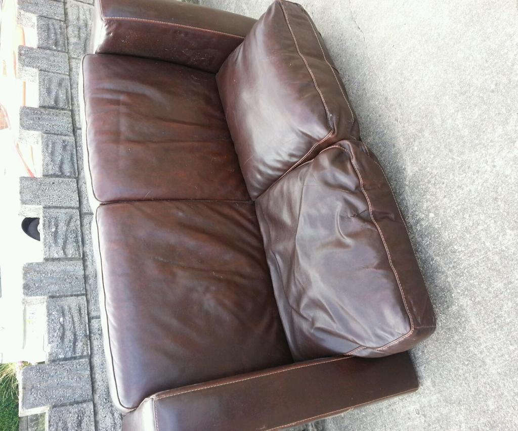 Free free brown leather 2 seater