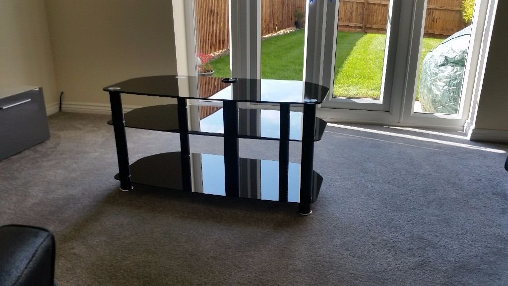 Black glass tv stand table lovely condition