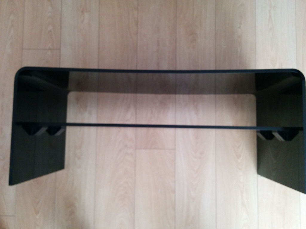 Black Acrylic Modern TV Stand with shelf